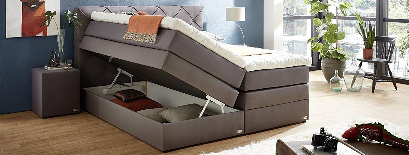 boxspringbett mit bettkasten und was sie dar ber wissen sollten 2019. Black Bedroom Furniture Sets. Home Design Ideas